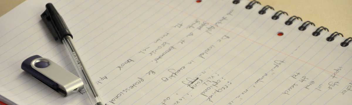 pen, usb stick, notepad