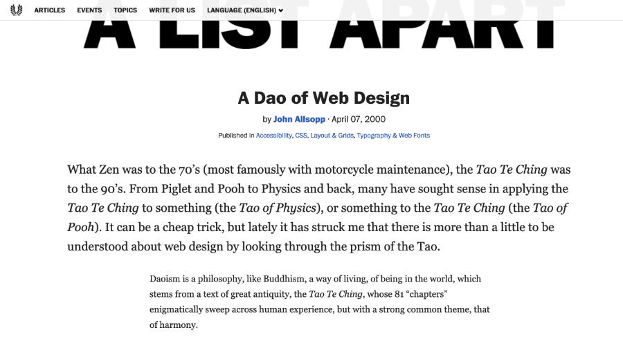 A List Apart: screenshot of DAO article